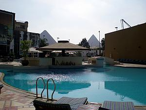 Our hotel's pool area, with the Giza Pyramids in the background!