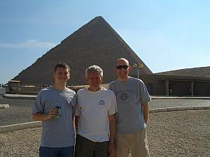 Standing outside the entrance of the Great Pyramid. We just took a walk today, we'll be back to visit later.