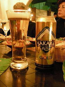 Enjoying dinner at our hotel - Kevin and Dad Klocke sampling the Sakara Gold Egyptian beer.