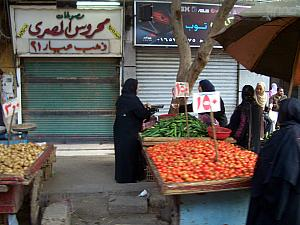 A local's market in Cairo, as seen from our tour bus.
