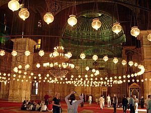 Hundreds of hanging lamps inside the mosque. Could you imagine if these were all wax-and-candlelit? Would be mesmerizing.