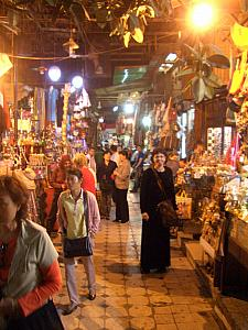 Shopping at the Khan El Khalili  Bazaar. The merchants here were very, very aggressive, trying to sell their wares.