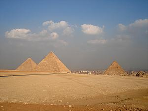 The Cheops, Khafre and Menkaure pyramids