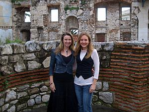 Paula and Kelly posing for a photo inside the Dicoletian Palace