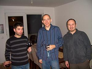 At a party celebrating the end of a Croatian-language lesson class that our friend Elisa is taking. She kindly invited us along. Left to right: our friend Mario, Jay, and Davor - Elisa's husband.