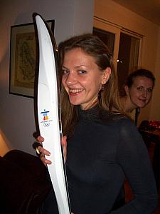 Milda with the 2010 Winter Olympics torch.