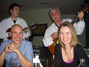 Our friends Mick and Paula, serenaded by Dalmatian musicians during our dinner at Art Cafe.