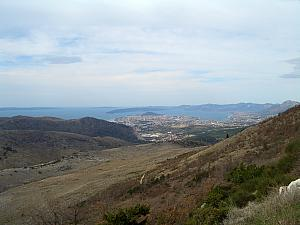 Looking back towards Split from a hiking trail on the mountain of Mosor.