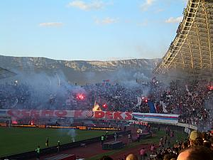 Hajduk Split scores -- 1-0! Celebration ensues.