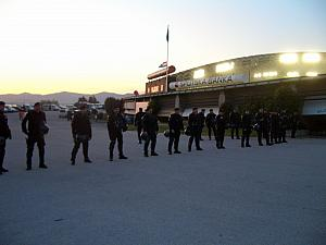 They were guarding the way to the buses for the Dinamo Zagreb fans, protecting them from abuse.