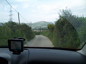 Driving to Klis Fortress, near Split. The GPS again choosing a superb route.
