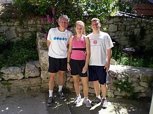 Dad Klocke, Kelly and Kevin getting ready to head out for a run.