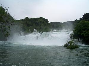 Krka's main waterfall - amazing how different it was only one week after we visited with Kelly's family.
