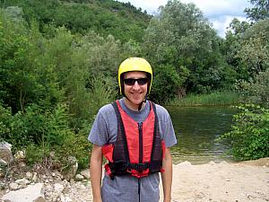 Jay in helmet and life jacket