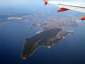 Bye, bye Split :(. The big green peninsula is Marjan Hill