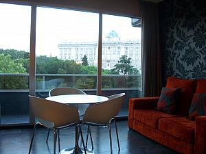Our hotel room - my 'workspace' and our awesome view of Madrid's Royal Palace.