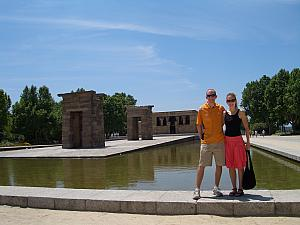 In the West Park is the Temple of Debod -- an Egyptian Temple from Aswan, Egypt that was given to Spain in 1968 in exchange of Spain's assistance in moving larger monuments (Abu Simbel) that needed to be moved when the Nile Dam was built. Egypt had a cash shortage, but not a monument shortage :)