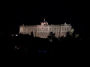 One more view of the Royal Palace from our hotel -- all lit up at night.