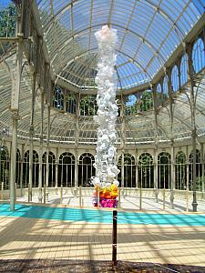 art exhibit inside Retiro Park's Crystal Palace