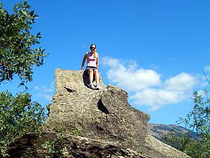Kelly playing queen of the mountain!