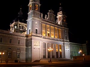 Madrid's Almudena Cathedral - neighboring the Royal Palace. Lit up at night.
