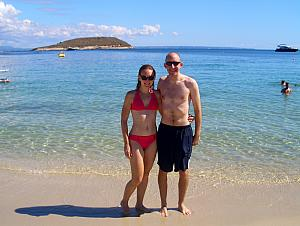 Kelly and Jay at the beach - pleasantly warm water for October!