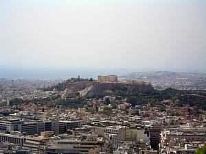 The view of Acropolis from the top of Lykavittos Hill.
