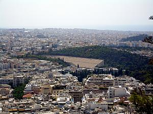 The view of the Panathinaiko Stadium from the top of Lykavittos Hill.