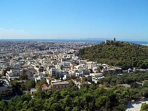 View towards Pireaus Port and the Aegean Sea from Acropolis.