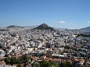 From Acropolis, looking at Lykavittos Hill, where we walked to the top of yesterday.