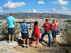 Everyone looking at the expanse that is Athens.