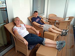 Kyleen and Kevin relaxing on our balcony.
