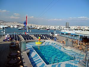 One of the two pools on the ship.
