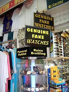"We were very amused at the signs signifying ""Genuine Fake Watches"". Isn't that a paradox?!"