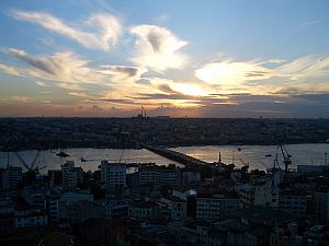 Atop the Galata Tower in Istanbul.