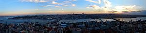Panoramic atop the Galata Tower in Istanbul.