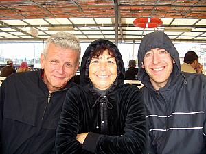 Going on a boat ride -- Dad, Mom, Jay. Yes, it was cold! I was the first to wimp out and went inside in the lower deck after about 15 minutes.