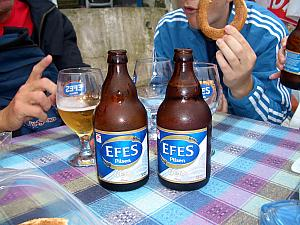 Enjoying a lunch and Turkey's national beer, Efes. Received a positive vedict from the group.