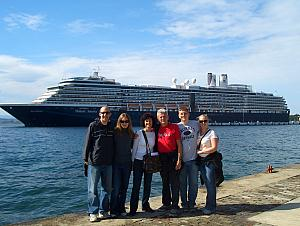 Everyone in front of our cruise ship.