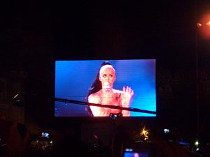 Katy Perry as seen from the giant screens.