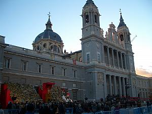 Almudena Cathedral - today was a holiday celebrating Saint Almudena, the patron saint of Madrid. Lots of Madrilenos making floral offerings and visiting the cathedral