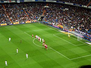 Setting up for a free kick