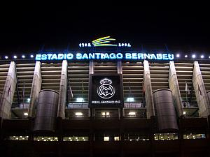 Madrid's famous Santiago Bernabeu stadium. Built in 1947, it holds 80,000 spectators.