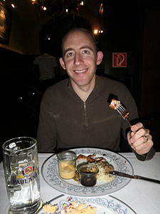 Dinner at a traditional German restaurant - I had some kind of wurst.