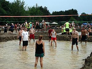 Mud Volleyball in Cleveland, OH -- our team is in the background