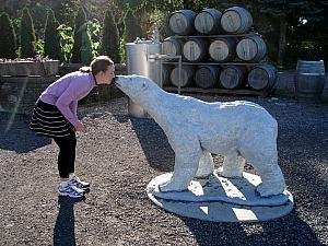 At another winery - Kelly finding her new love -- this was a winery specializing in Icewine - thus the polar bear.