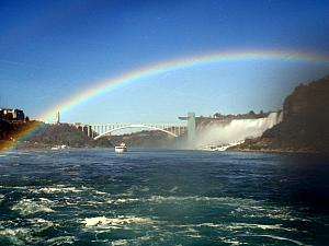 Viewing the falls from the Maid of the Mist ferry boat -- another rainbow!