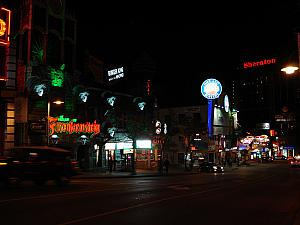Niagara's Clifton Hill street, where all the terrible touristy crap is -- lots of awful neon -- though, it was amusing.