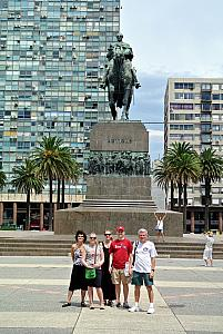 Montevideo - Group photo in a big square, with scraggy apartment buildings in the background. For reference, the presidential palace is directly behind the photographer.