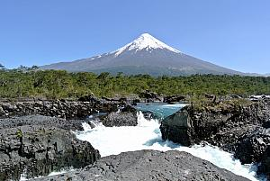 Puerto Montt, Chile - Osorno Volcano in front of a waterfall